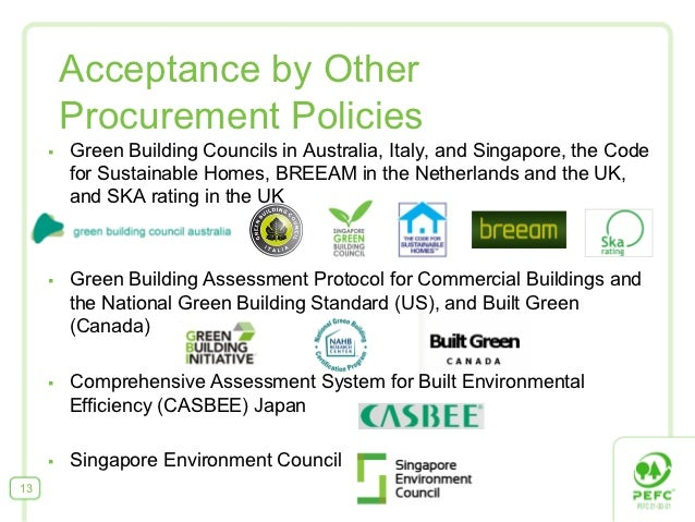 Acceptance by Other           Procurement Policies     §   Green Building Councils in Australia, Italy, and Singapore, t...