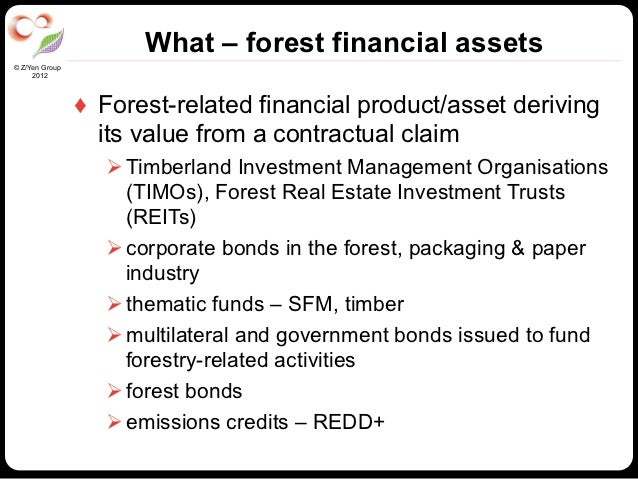 What – forest financial assets© Z/Yen Group     2012                ♦ Forest-related financial product/asset deriving    ...
