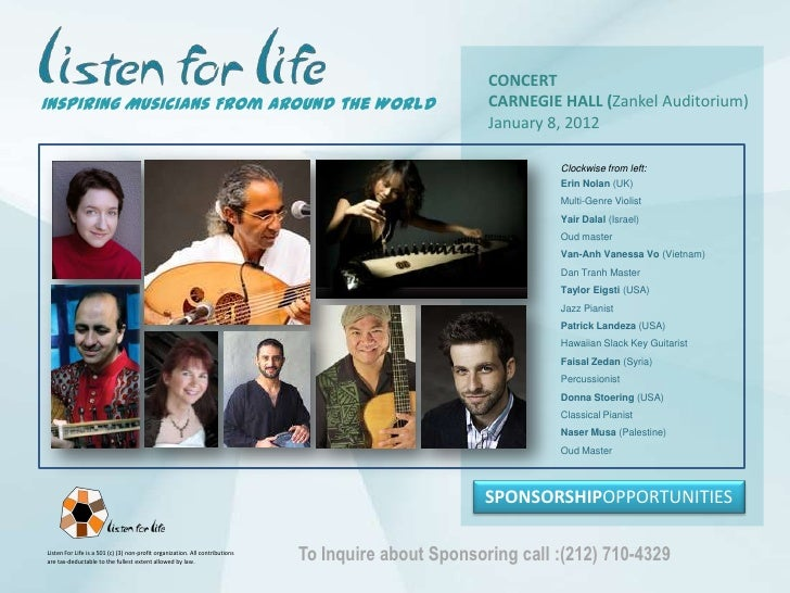 CONCERT<br />CARNEGIE HALL (ZankelAuditorium)<br />January 8, 2012<br />Inspiring Musicians From Around the World<br />Clo...