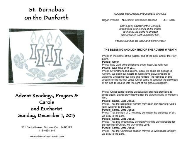 St. Barnabas on the Danforth  ADVENT READINGS, PRAYERS & CAROLS Organ Prelude  Nun komm der heiden Heiland  – J.S. Bach  C...
