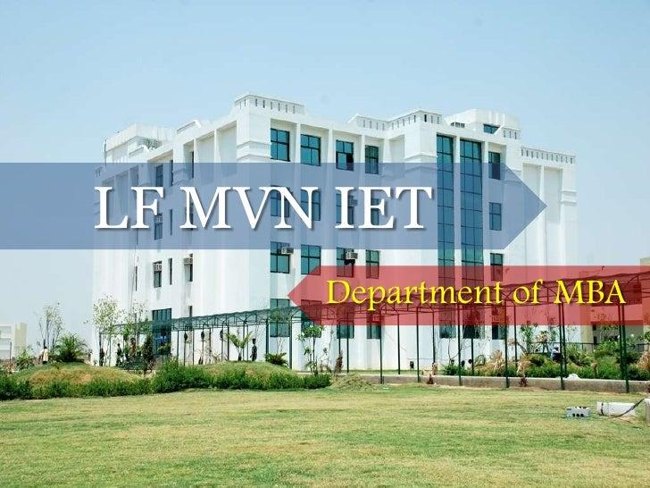 LFMVN IET Department of MBA