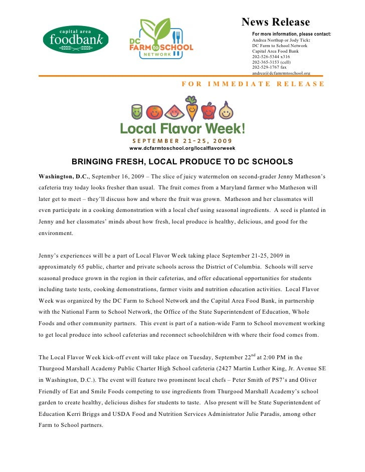 album press release template - local food week press release