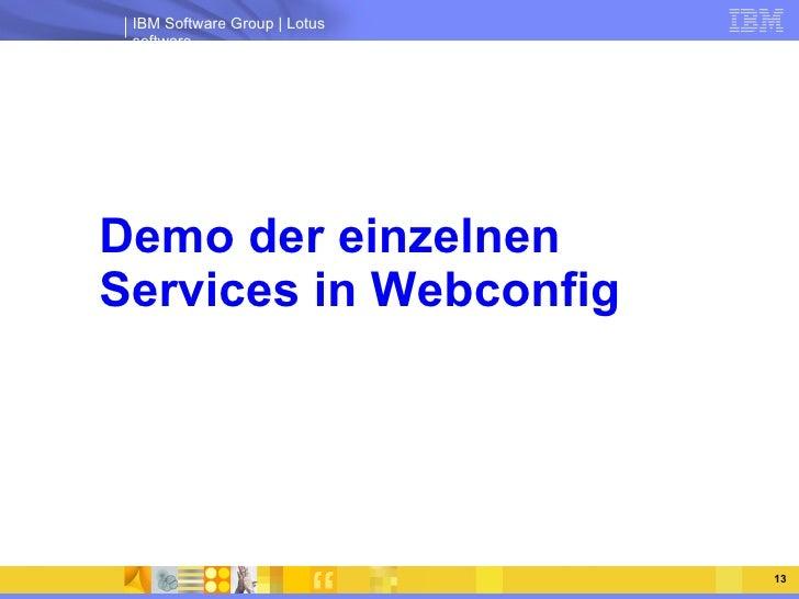 Demo der einzelnen  Services in Webconfig