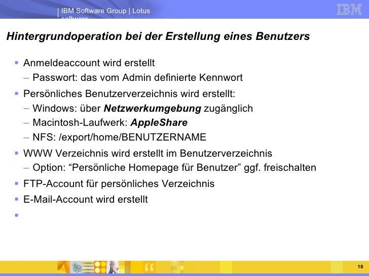 Hintergrundoperation bei der Erstellung eines Benutzers <ul><li>Anmeldeaccount wird erstellt </li></ul><ul><ul><li>Passwor...