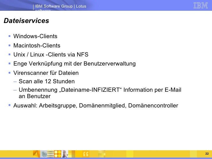 Dateiservices <ul><li>Windows-Clients </li></ul><ul><li>Macintosh-Clients </li></ul><ul><li>Unix / Linux -Clients via NFS ...