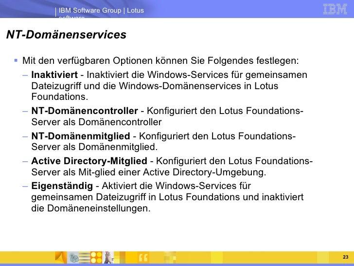 NT-Domänenservices <ul><li>Mit den verfügbaren Optionen können Sie Folgendes festlegen:  </li></ul><ul><ul><li>Inaktiviert...