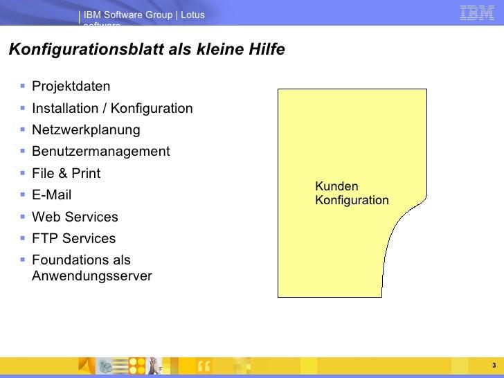 Konfigurationsblatt als kleine Hilfe <ul><li>Projektdaten </li></ul><ul><li>Installation / Konfiguration </li></ul><ul><li...