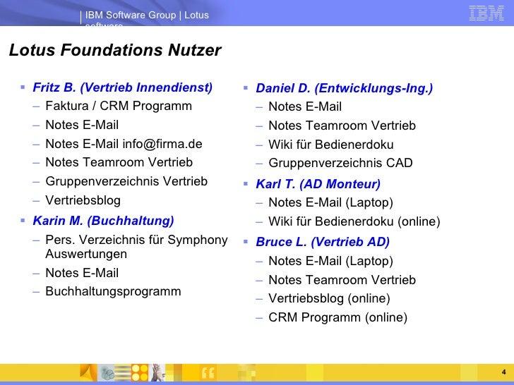 Lotus Foundations Nutzer <ul><li>Fritz B. (Vertrieb Innendienst) </li></ul><ul><ul><li>Faktura / CRM Programm </li></ul></...