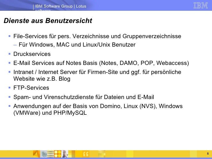 Dienste aus Benutzersicht <ul><li>File-Services für pers. Verzeichnisse und Gruppenverzeichnisse </li></ul><ul><ul><li>Für...