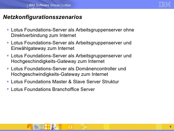 Netzkonfigurationsszenarios <ul><li>Lotus Foundations-Server als Arbeitsgruppenserver ohne Direktverbindung zum Internet <...