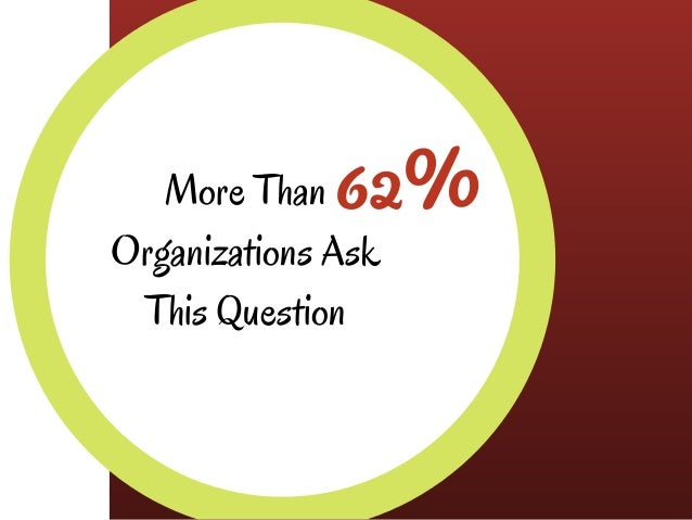 62%More Than Organizations Ask This Question
