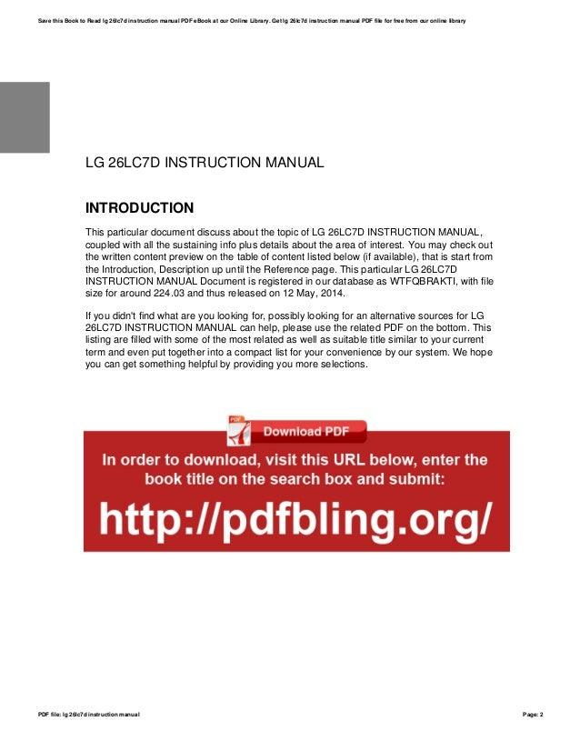 lg 26lc7d instruction manual rh slideshare net LG Cell Phone Operating Manual LG Phones Manual