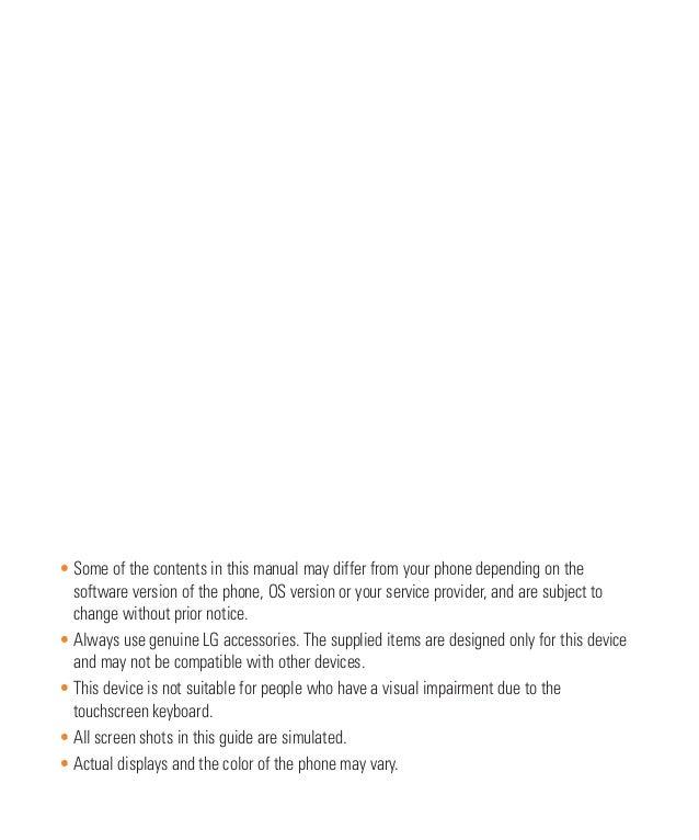 LG Escape 2 Manual / User Guide Slide 2