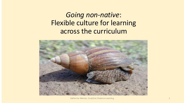 Going non-native: Flexible culture for learning across the curriculum  Katherine Watson, Coastline Distance Learning  1