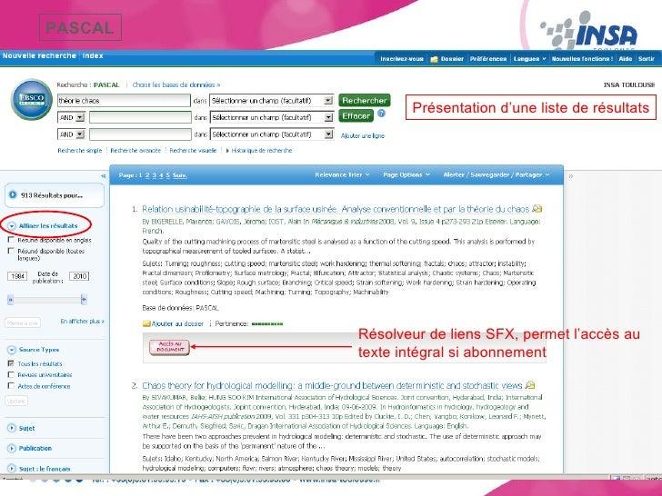 Présentation d'une liste de résultats PASCAL Résolveur de liens SFX, permet l'accès au texte intégral si abonnement