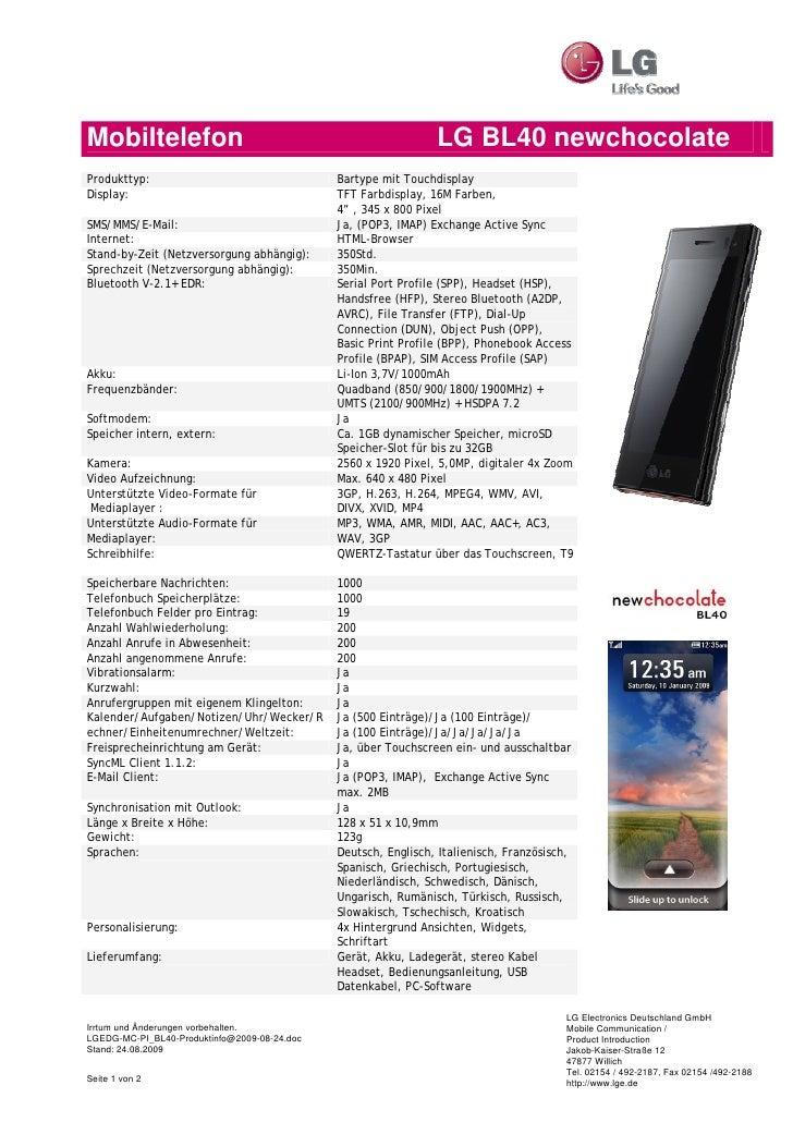 Mobiltelefon                                                    LG BL40 newchocolate Produkttyp:                          ...