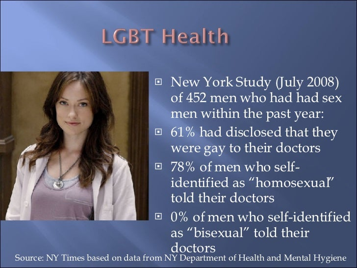 <ul><li>New York Study (July 2008) of 452 men who had had sex men within the past year: </li></ul><ul><li>61% had disclose...