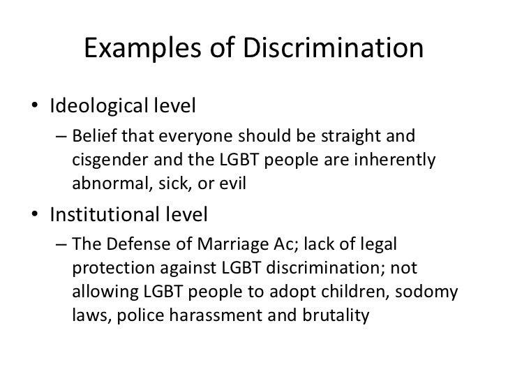 Homosexual discrimination definition examples