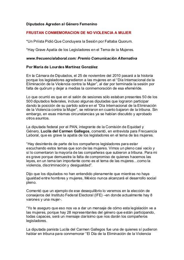 Diputados Agreden al Género Femenino FRUSTAN CONMEMORACION DE NO VIOLENCIA A MUJER *Un Priísta Pidió Que Concluyera la Ses...
