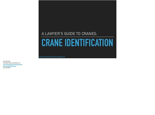 www.OverheadCraneConsulting.com CRANE IDENTIFICATION A LAWYER'S GUIDE TO CRANES: Larry Dunville  Overhead Crane Consulting...