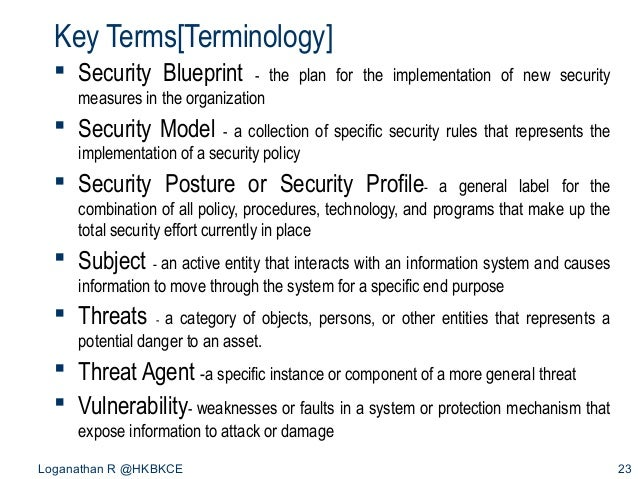 Introduction to information security loganathan r hkbkce 22 23 key termsterminology security blueprint malvernweather Images