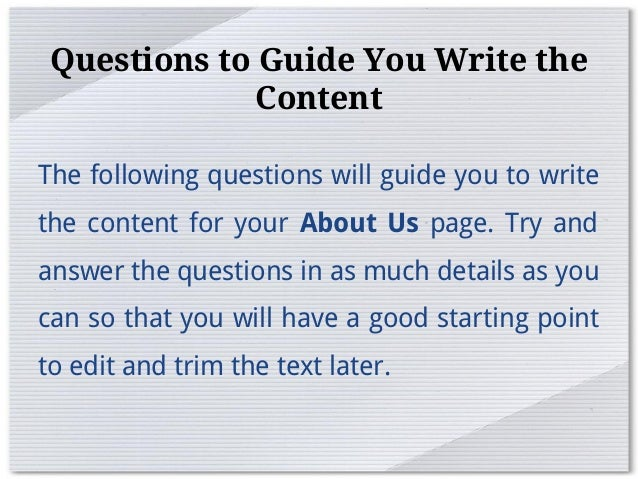 How to write a good about us web page