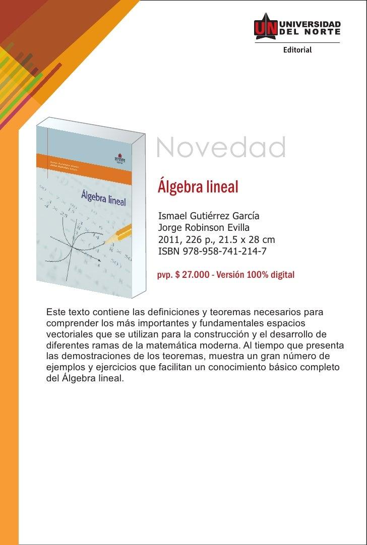 Novedad                         Álgebra lineal                         Ismael Gutiérrez García                         Jor...