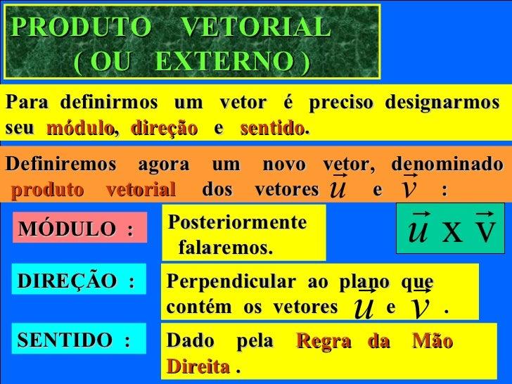 PRODUTO VETORIAL   ( OU EXTERNO )Para definirmos um vetor é preciso designarmosseu módulo, direção e sentido.             ...
