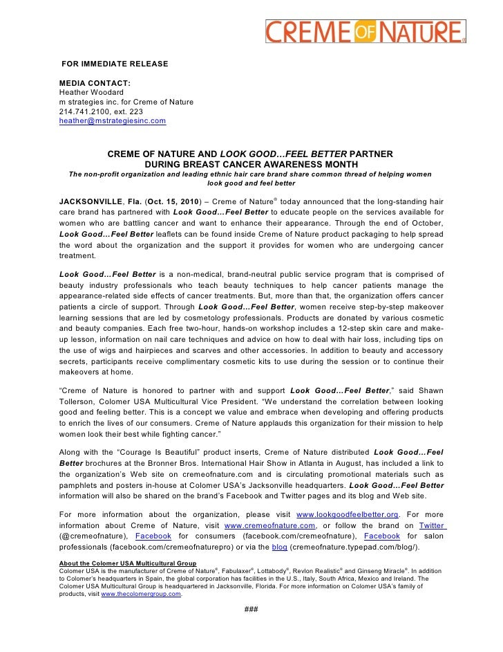 FOR IMMEDIATE RELEASE  MEDIA CONTACT: Heather Woodard m strategies inc. for Creme of Nature 214.741.2100, ext. 223 heather...