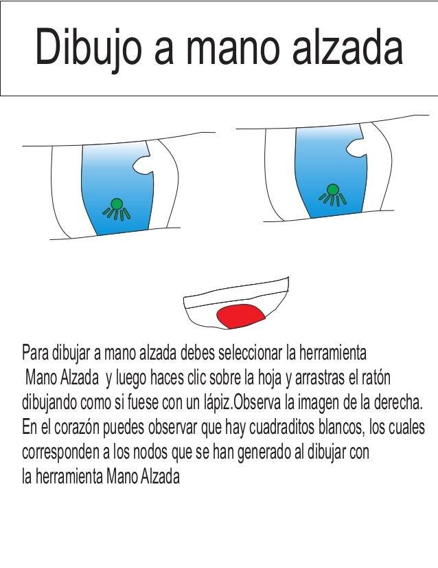 Para dibujar a mano alzada debes seleccionar la herramienta ManoAlzada y luego haces clic sobre la hoja y arrastras el rat...