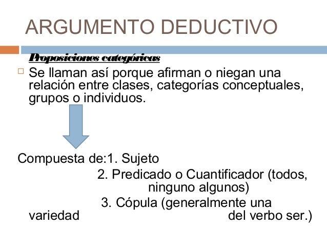 ARGUMENTO DEDUCTIVO    Proposiciones categóricas   Se llaman así porque afirman o niegan una    relación entre clases, ca...