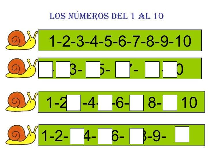Los números del 1 al 10 1-2-3-4-5-6-7-8-9-10 -  -3-  -5-  -7-  -  -10 1-2-  -4-  -6-  - 8-  - 10 1-2-  -4-  -6-  -8-9-