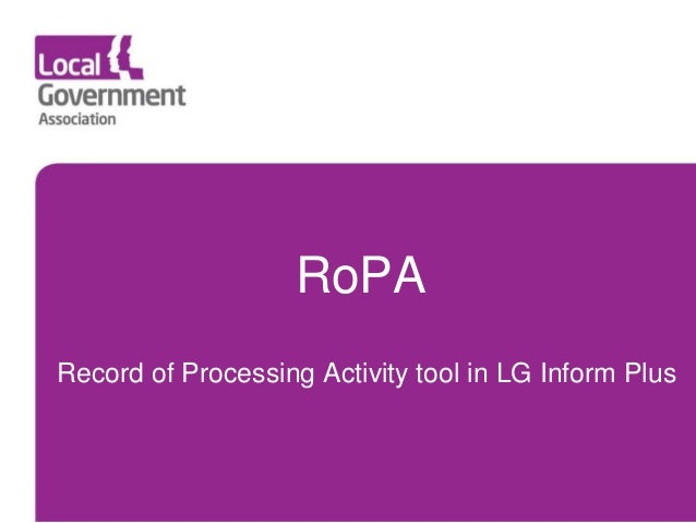 Record of Processing Activity tool in LG Inform Plus RoPA