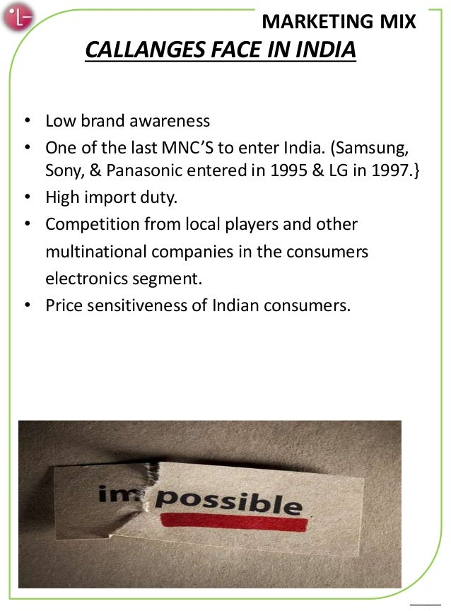 marketing mix lg The marketing mix of lg discusses the 4 p's which make such a strong brand as  lg in this, the product line and depth of lg are major.