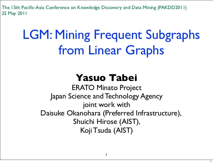 The 15th Pacific-Asia Conference on Knowledge Discovery and Data Mining (PAKDD2011)25 May 2011         LGM: Mining Frequent...