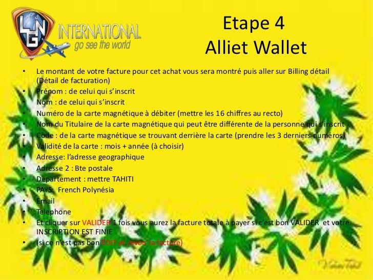 Etape 4 AllietWallet<br />Le montant de votre facture pour cet achat vous sera montré puis aller sur Billing détail (Détai...