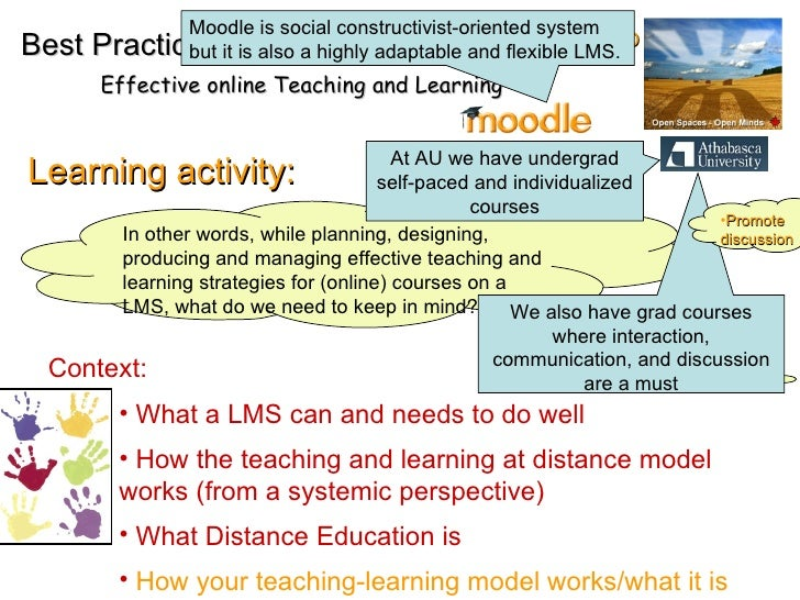EMD Learning activity: In other words, while planning, designing, producing and managing effective teaching and learning s...