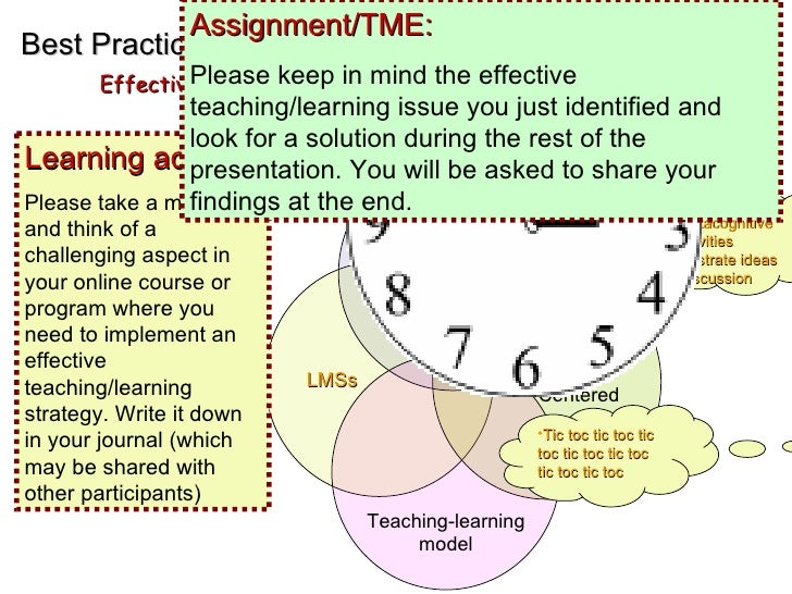 EMD Best Practices Effective online Teaching and Learning <ul><li>Metacognitive  </li></ul><ul><li>Activities </li></ul><u...