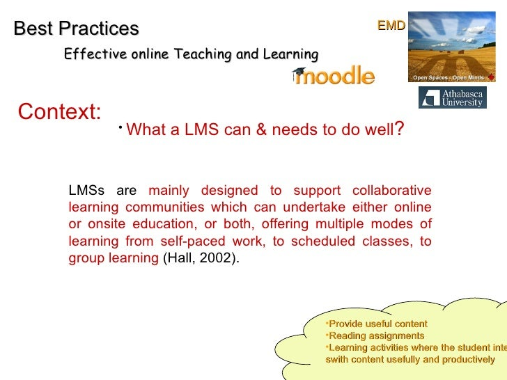Best Practices Effective online Teaching and Learning Context:   LMSs are  mainly designed to support collaborative learni...
