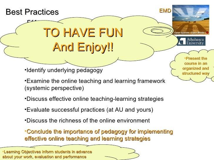 Best Practices Effective online Teaching and Learning Objectives: <ul><li>Identify underlying pedagogy  </li></ul><ul><li>...