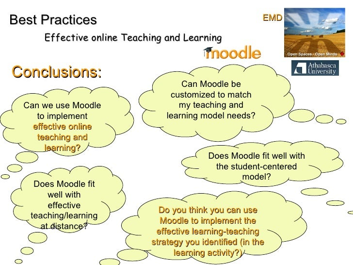 Conclusions: Best Practices Effective online Teaching and Learning Can we use Moodle to implement  effective online teachi...