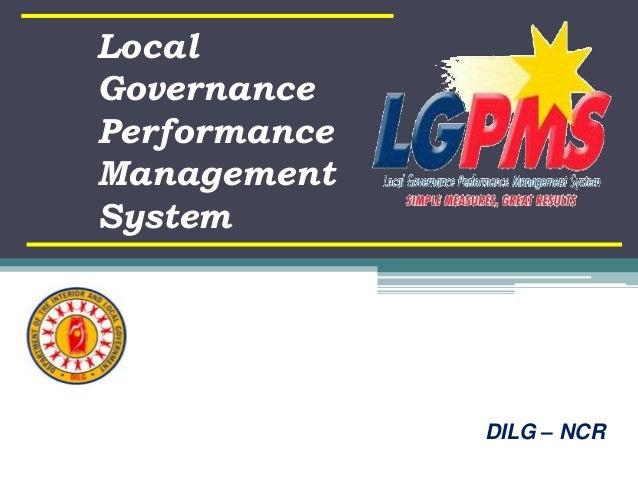 Local Governance Performance Management System DILG – NCR
