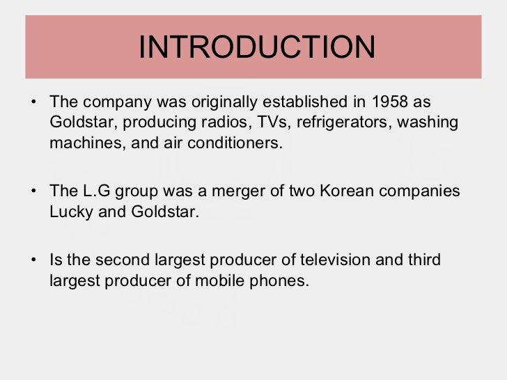 lg corporation Lg corp is a multinational conglomerate founded in 1947 and headquartered in  seoul, republic of korea it is best known by consumers for its electronics.