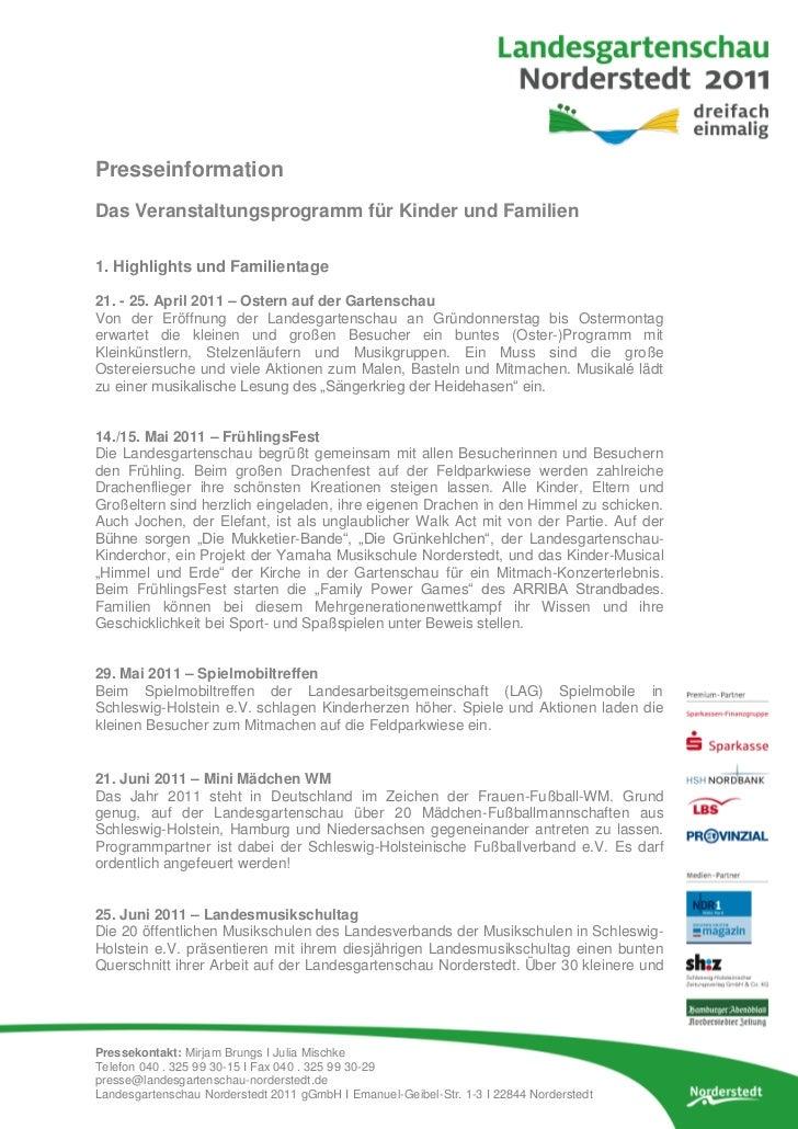 PresseinformationDas Veranstaltungsprogramm für Kinder und Familien1. Highlights und Familientage21. - 25. April 2011 – Os...