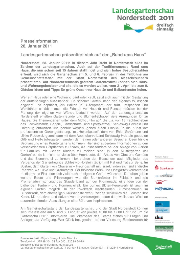 """Presseinformation28. Januar 2011Landesgartenschau präsentiert sich auf der """"Rund ums Haus""""Norderstedt, 28. Januar 2011: In..."""