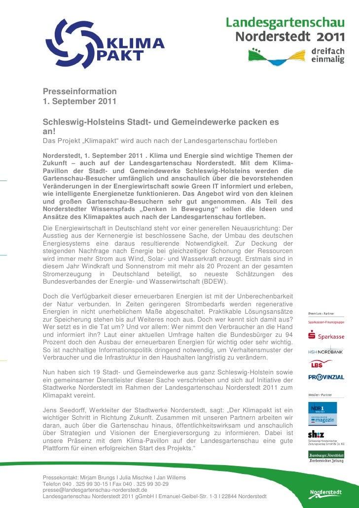 """Presseinformation1. September 2011Schleswig-Holsteins Stadt- und Gemeindewerke packen esan!Das Projekt """"Klimapakt"""" wird au..."""