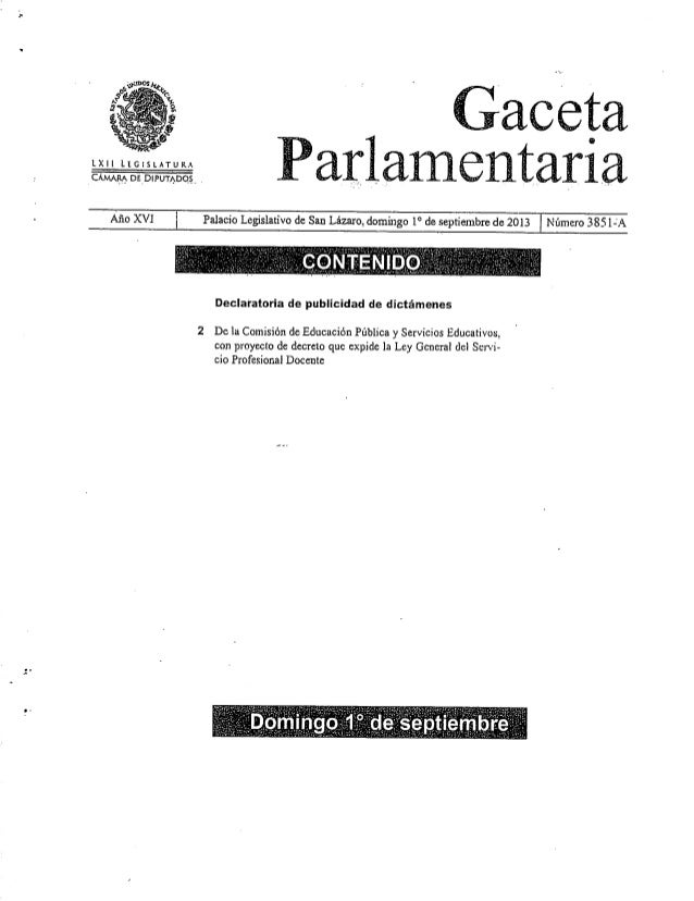 IXII Legislatura CÁ.ViAMDE DIPUTADOS Gaceta Parlamentaria Año XVI Palacio Legislativo de San Lázaro, domingo 1® deseptiemb...