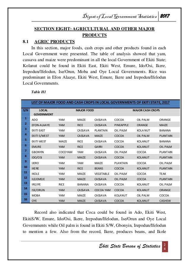 Digest of Local Government Statistics 2017 Ekiti State Bureau of Statistics 2 4 SECTION EIGHT: AGRICULTURAL AND OTHER MAJO...