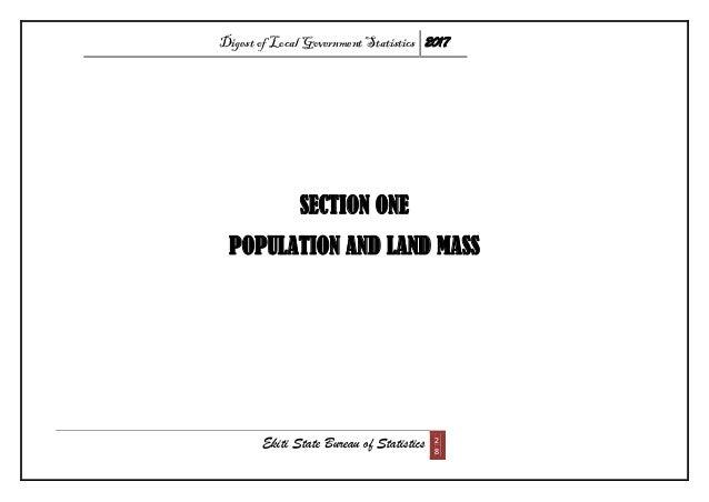 Digest of Local Government Statistics 2017 Ekiti State Bureau of Statistics 2 8 SECTION ONE POPULATION AND LAND MASS