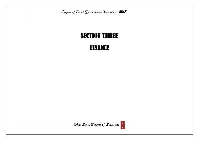 Digest of Local Government Statistics 2017 Ekiti State Bureau of Statistics 4 2 SECTION THREE FINANCE